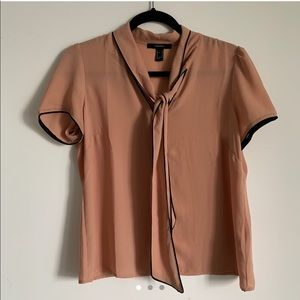 Dusty rose business-casual blouse with neck tie